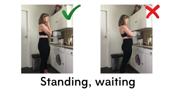 Two images of a woman waiting for a kettle to boil